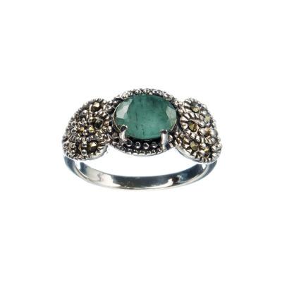 Anello di Smeraldo ovale con Marcasiti e Argento 925