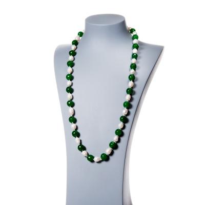Collana in Perle d'Acqua dolce e Agata Verde sfaccettata