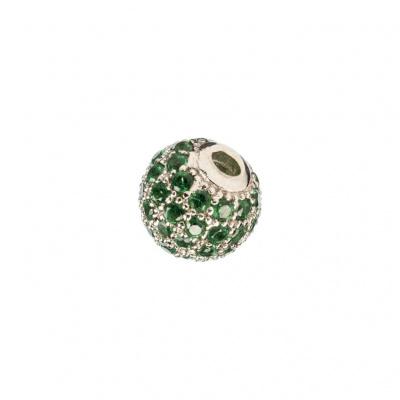 Ciondolo Distanziatore Pallina Argento 925 con Zirconi Verdi 6mm