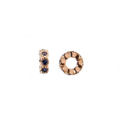 Distanziatore Micro Rondella in Argento 925 Rosa con Zirconi Blu 4mm - confezione 4 pz