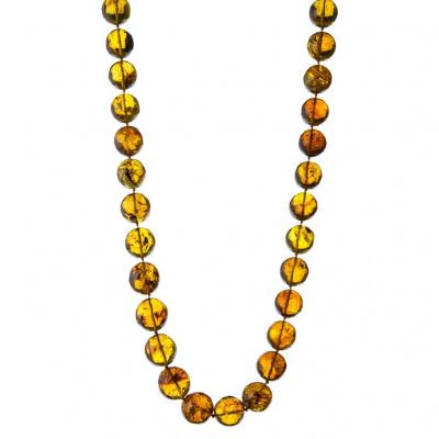 Collana lunga a Sfere digradanti in Ambra Messicana e Argento 925 dorato