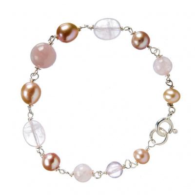 Bracciale di Quarzo Rosa, Perle e Argento 925