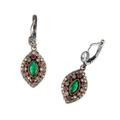 Orecchini ovali di Agata Verde e Rossa in Argento 925 e Bronzo - Stile Turco