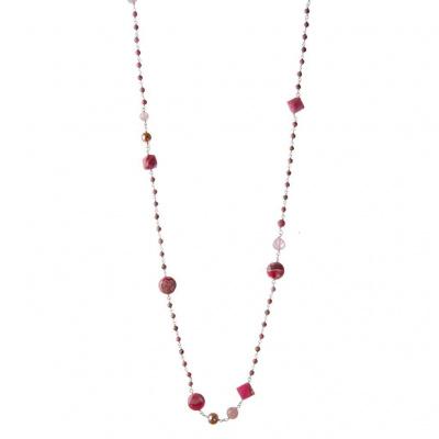 Collana di Rodocrosite, Perle, Quarzo Rosa e Argento 925