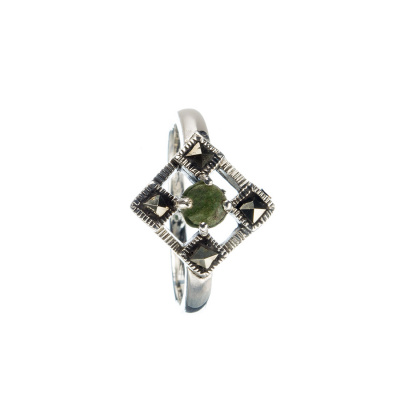 Anello di Smeraldo tondo con Marcasiti e Argento 925