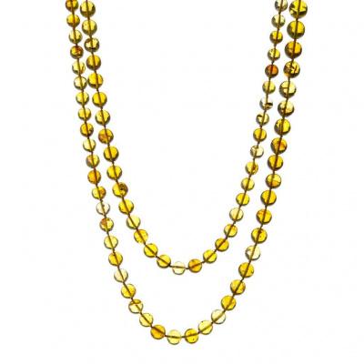 Collana lunga a Sfere in Ambra Messicana e Argento 925 dorato