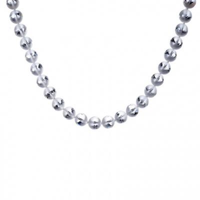 Collana di Cristallo Di Rocca Satinato qualità Extra e Argento, sfere 10 mm