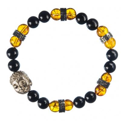 Bracciale elastico Ambra, Ossidiana Nera e Budda Argento 925