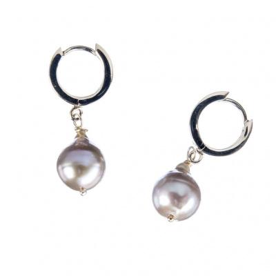 Orecchini di Perle grigie e Argento 925