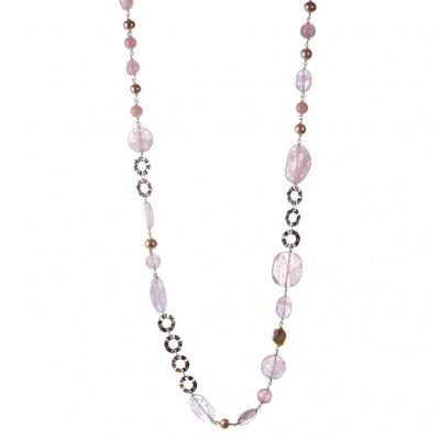 Collana in Quarzo Rosa, Perle e Argento 925