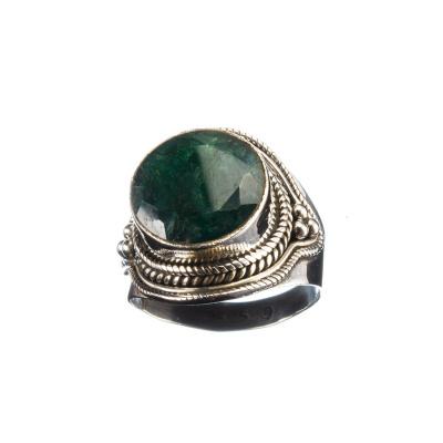 Anello cabochon tondo in Smeraldo e Argento 925