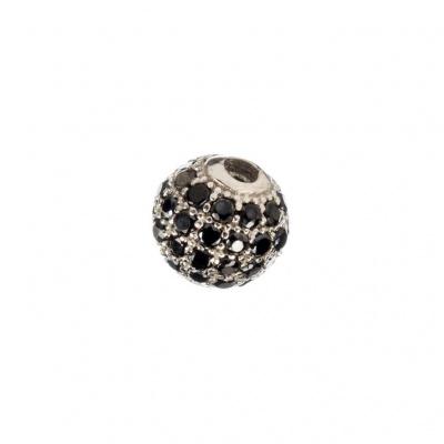 Ciondolo Distanziatore Pallina Argento 925 con Zirconi Neri 6mm