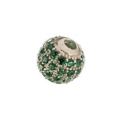 Ciondolo Distanziatore Pallina Argento 925 con Zirconi Verdi 8mm