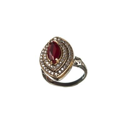 Anello Ovale in Agata Rossa e Zirconi in Argento 925 e Bronzo - Stile Turco