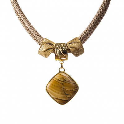 Collana corta con pendente in Pietra Paesina