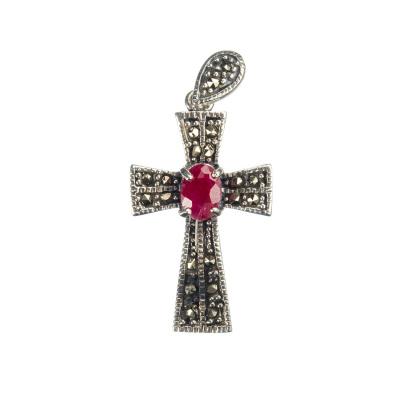 Ciondolo di Rubino Croce e Argento 925