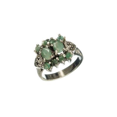 Anello in Smeraldi, Marcasiti e Argento 925