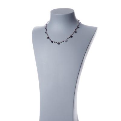 Collana corta in Iolite e Argento 925 rosa - Fiori di Primavera