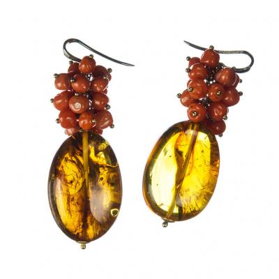 Orecchini pendenti di Ambra e Argento 925 con sfere di Corallo Rosso