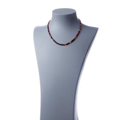 Collana corta Agata Rossastra e Ag 925, sfere 4mm