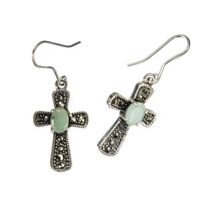 Orecchini Smeraldo Croce, Marcasiti e Argento 925