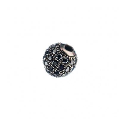 Ciondolo Distanziatore Pallina Argento 925 Nero con Zirconi Neri 6mm