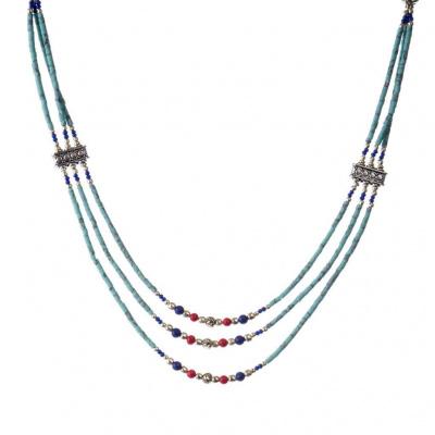 Collana Etnica Turchese, Corallo, Lapislazzuli e Argento Tibetano