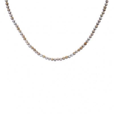Collana corta Agata Grigia Naturale e Ag 925, sfere 4mm