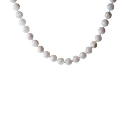 Collana di Labradorite Bianca e Argento 925, Sfere sfaccettate 10 mm