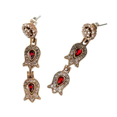 Orecchini a fiore di Agata Rossa in Argento 925 e Bronzo - Stile Turco