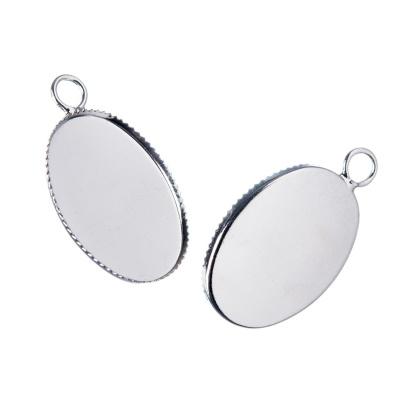 Castone ovale per Pendenti in Ottone, vassoio da 18x13 mm color argento - 1 pz.