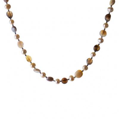 Collana di Agata Grigia e Perle