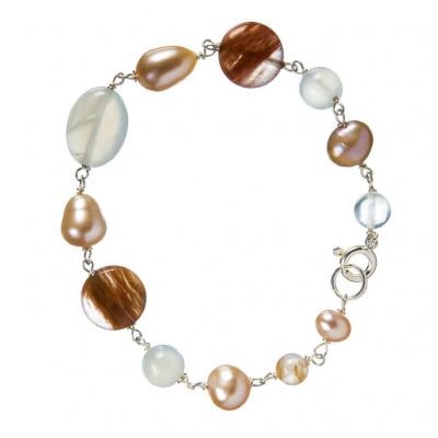 Bracciale Pietra di Luna, Perle e Argento 925