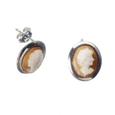 Orecchini in Argento 925 con Cammeo ovale