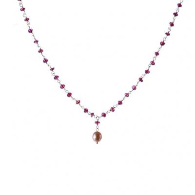 Collana di Granato Rodolite, Perla e Argento 925