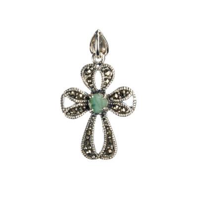 Ciondolo di Smeraldo a Croce con Marcasiti e Argento 925