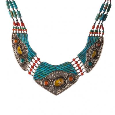 Collana Etnica di Corallo, Ambra, Turchese e Argento Tibetano