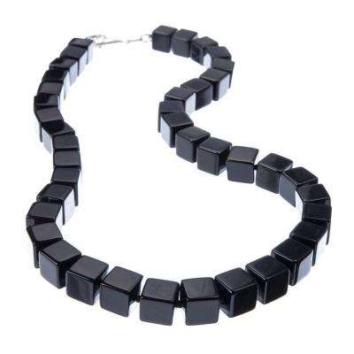 Collana di cubi di Onice Nera e chiusura in Argento 925