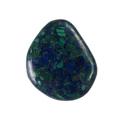 Azzurrite con Malachite piatta, liscia e burattata