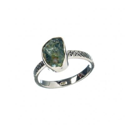 Anello di Tormalina Verde (Verdellite) e Argento 925