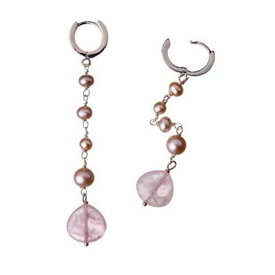 Orecchini pendenti in Quarzo Rosa, Perle e Argento 925