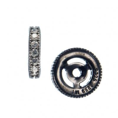 Distanziatore Rondella in Argento 925 Nero con Zirconi Bianchi 10mm