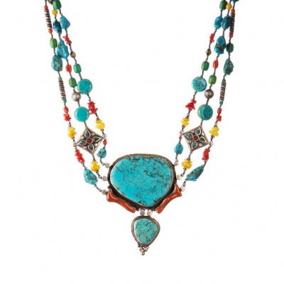 Collana Etnica di Turchese, Ambra, Corallo e Argento Tibetano