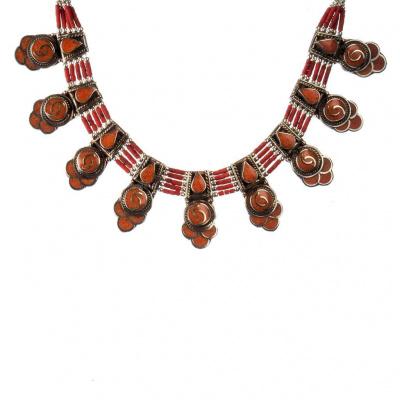 Collana Etnica Corallo rosso e Argento Tibetano