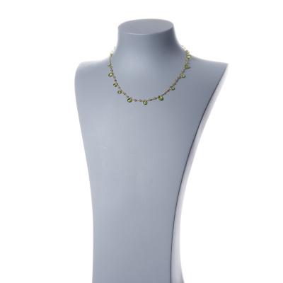 Collana corta in Olivina e Argento 925 dorato - Fiori di Primavera
