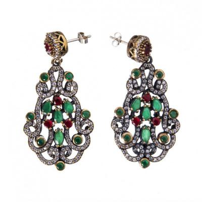 Orecchini pendenti di Agata Verde, Agata Rossa, Argento 925 e Bronzo - Stile Turco