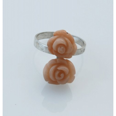 Anello rose in Ag 925 con Corallo Canna di Bambù