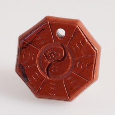 Ciondolo unisex Yin Yang in Diaspro Rosso levigato