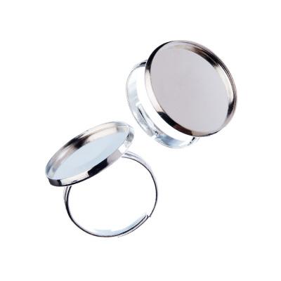 Base regolabile per Anello da 20mm in ottone tonda liscia color Platino - 1 pz.