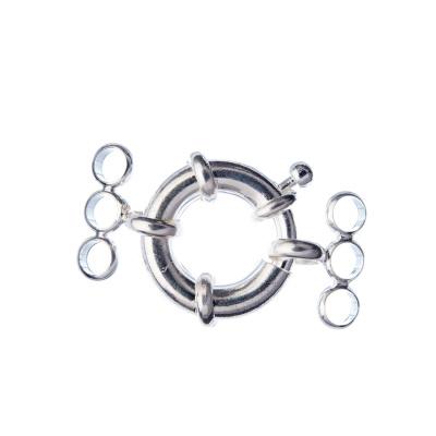 Chiusura anello in Ottone tre fili con molla color Platino diametro 1.7 cm - 1 pz.